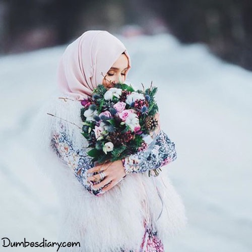 dp muslim hijab girl with bouquet