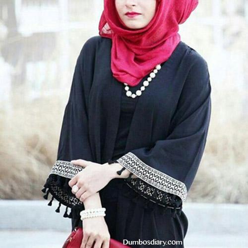 Red hijab muslim girl