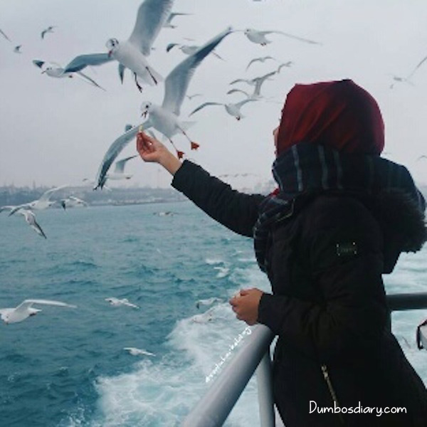 Hijabi Girl Standing On Beach