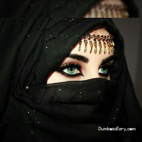 Pretty eyes girl in black glitter hijab