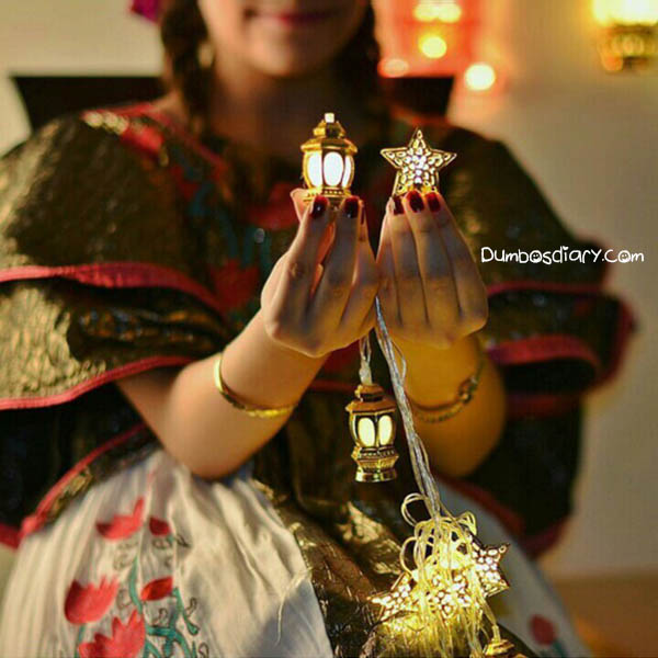 Cute Girl With Ramadan Lantern And Star In Hands